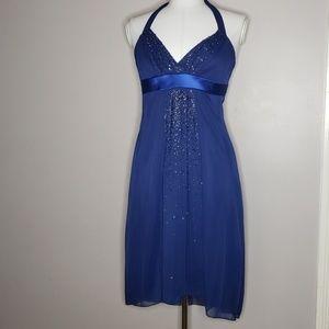 Blue halter sequin dress 👗